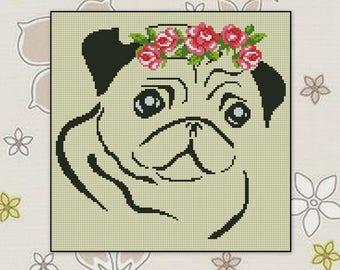 Modern cross stitch pattern Dog Pug cross stitch pattern, BOGO, Animals xstitch chart PDF counted cross stitch pattern,R042