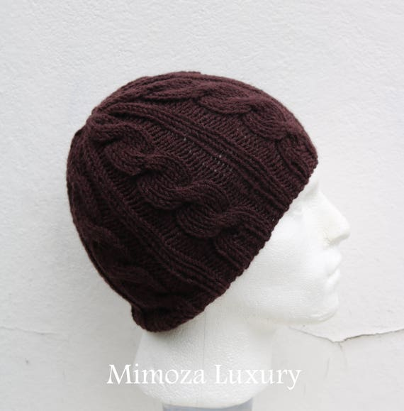 Chocolate Brown Men's Beanie hat, Hand Knitted Hat in brown beanie hat, knitted men's, women's beanie hat , brown winter beanie hat, ski hat