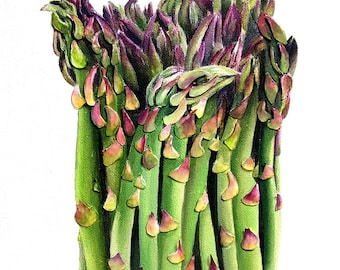 Asparagus Painting - 3D Paper Mixed Media Green Vegetable Food Art Kitchen Wall Decor