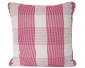 Raspberry Schumacher Avon Gingham Plaid Pillow Cover with Ivory Piping
