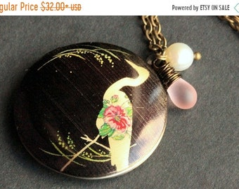 MOTHERS DAY SALE Bird Locket Necklace. Crane Necklace with Pink Teardrop and Fresh Water Pearl. Heron Necklace. Handmade Jewelry.