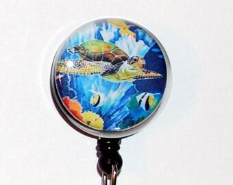 Badge Holder ID Green Turtle Fish Coral Ocean Tropical Teacher Designer Gift Retractable  Reel Clip