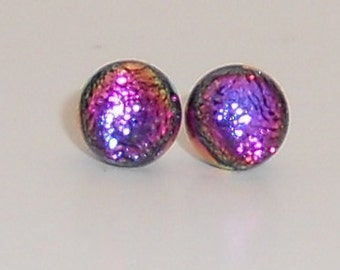 Pink and Purple Petite Dichroic Glass Post Earrings