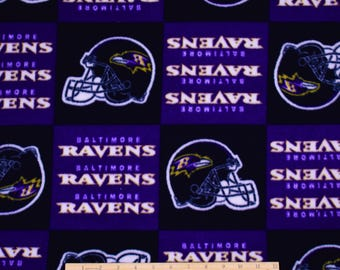 PRECUT 1.5 Yards FLEECE Baltimore Ravens Football Fabric NFL Fabric
