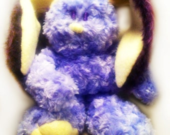 Handmade Bunny Plush Toy, Lavender Blond, Fur Chenille Bunny Stuffed Animal