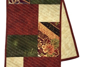 Quilted Table Runner Maroon and Beige, Elegant Table Runner, Maroon Bureau Scarf, Maroon and Beige Table Decor, Quiltsy Handmade