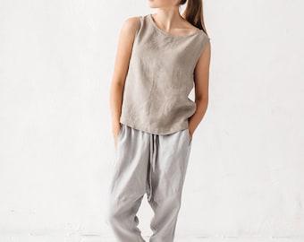 Harem ice grey pants, Linen pants, Woman pants, Natural linen pants, Trousers, Stone washed linen, French linen, Linen clothes, Yoga pants