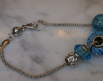 Sterling Silver Popcorn Chain Bracelet with Interchangeable Sterling and Lampwork Glass Beads