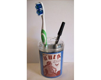 hula girl toothbrush holder retro 1950s pin up girl Hawaii kitsch bathroom rockabilly decor