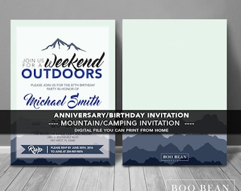 Mountain Invitation | Printable Invitation | Milestone Birthday Card | Mountain Party | Camping Invitation | Mountain Invite | Outdoors