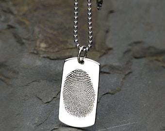 Sterling Silver Dog Tag, Fingerprint Dog Tag, Fingerprint Engraving, Personalized Jewelry, Dog Tag Necklace Custom,