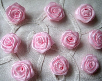 5/8 inch Fabric Pink Flowers Rosettes for Sewing, Crafting, Scrapbooking, Embellishment, Hair accessories, Doll Clothing, 15 mm, 30 pcs