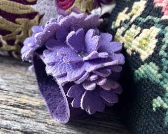 "Leather Flower Cuff on Purple Leather with 6 Lavender Deerskin Blooms Size Small/Med  (6.75"") Wedding Prom Garden Party by Stacy Leigh"