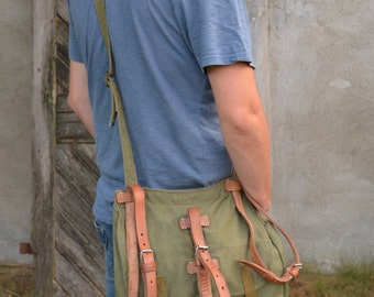 Vintage Light Canvas Messenger Bag, Army Shoulder Bag with Leather Straps, Green Canvas Army Bag, Cross Body Bag, Unisex Military Haversack
