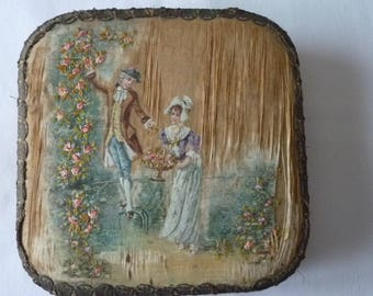 Nineteenth century sewing box embroidered Made in France
