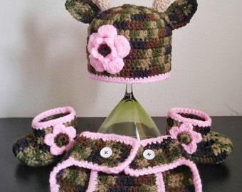 crochet camo baby antlers hat set,camo baby set,crochet baby camouflage,camo newborn photo props,baby deer hat,crochet camo hat,shoes,diaper