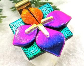 Iris flower jewelry, Artisan jewelry, iris necklace, dichroic glass pendant, jewelry handmade, flower jewelry, statement jewelry,fused glass