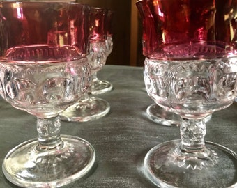 Tiifin -Fransician King's Crown Ruby Flashed Set of 6 Water Goblets