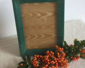 French Vintage Green Faux Snakeskin Picture Frame