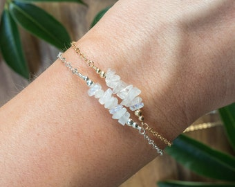 Rainbow moonstone bead bar bracelet - Moonstone gemstone bar bracelet - Delicate dainty moonstone bracelet - June birthstone bracelet.