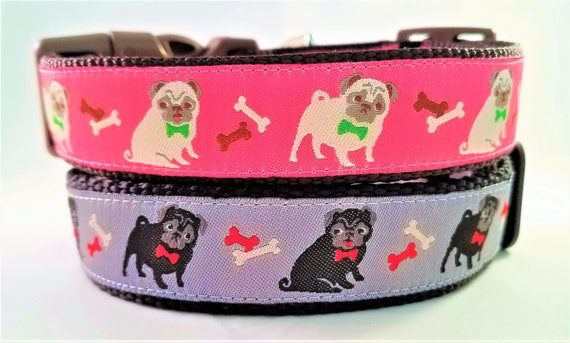 Pugs - Dog Collar / Handmade / Adjustable / Pug / Dogs / Pet Collar / Fawn Pug / Black Pug / dog bow tie / pug life