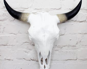 White Faux Cow Skull with Horns 2 sizes available