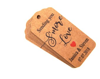 10 - 100 pcs. Custom Sending You Smore Love Tags, Personalized Smore Favor Tag, Custom Wedding Tags, Favor Tags