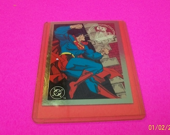 Superman The Man Of Steel Wizard Promo Card By Skybox In Hard Plastic Toploader 1990's