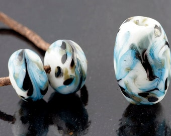 White and Blue Marble Focal and Pairs Handmade Lampwork Glass Beads (3 Count) by Pink Beach Studios (2011)
