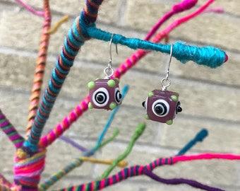 Dangle Earrings - Girls Earrings - Little Girl Earrings - Little Girls Jewelry - Stocking Stuffer - Purple Earrings - Polka Dot Jewelry