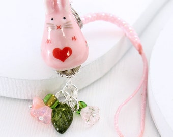 Kawaii Cute Rabbit - Backpack Charm / Phone Plug, Pink Bunny Rabbit, Pink Glass Flower Beads, Beaded Purse Charm