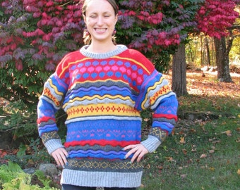 Vintage Wool Sweater - Colorful - Size M