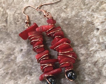 Red Coral and Hematite Gemstone Earrings