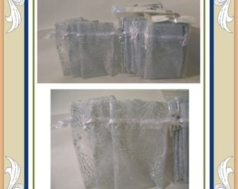 Poinsetta Drawstring Bags - White and Silver Sheer Favor Gift Bags 4X6