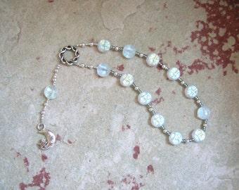 Selene Pocket Prayer Beads in White Pressed Glass: Greek Goddess of the Moon, Goddess of the Night
