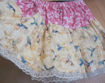 Hummingbirds Lolita Pink Lace Skirt