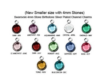 "60 Pcs ""New Smaller"" 4mm Stone Bezel Set Swarovski Birthstones Crystal Charms,  Sterling Silver Plated, 5 of each month, - CC4S-SET60"