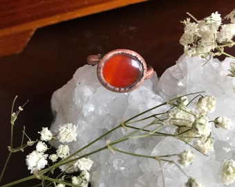 Copper carnelian ring