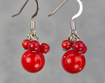 Red coral cluttered drop earrings Bridesmaids gifts Free US Shipping handmade Anni Designs