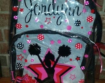 Personalized Clear Backpacks - Cheer inspired