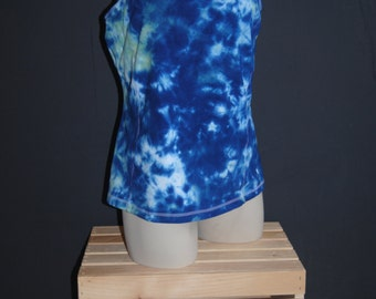 Built in Bra Top Racerback Tank with IPOD pocket Tie Dye in Acid Wash Effect with Royal Blue and Wasabi