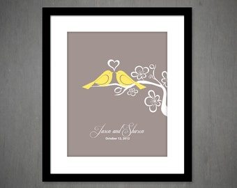 LOVE BIRDS Customizable Wedding Gift, Anniversary Gift, Housewarming Print, established date print