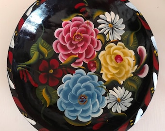 Vintage  Mexican Folk Art  Wood Handmade Painted Floral Plate