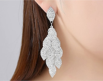 Bridal Dropdown Rhinestone Earrings- Crystal Silver Earrings- Chandelier Bridal Earrings-Bridal Sets- Bridal Jewelry- Bridesmaids Jewelry