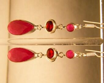 Three Stone Sterling Silver Ruby and Garnet Dangle Earrings