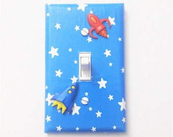 Rocket ship light switch cover Space nursery Kids room decor Boys bedroom