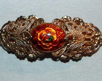 Barrette Hair Clip,  Large Flower Barrette,  Gold Metal Embossed, Vintage old jewelry