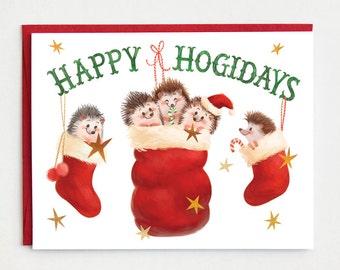 Hedgehog Christmas Card, Hedgehog Holiday Card - funny pun christmas card