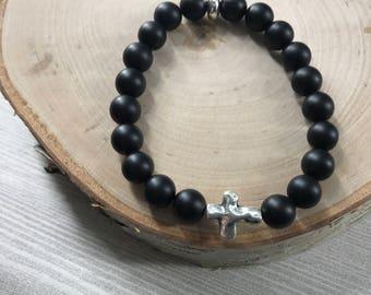 Matte onyx cross bracelet