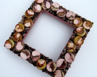 Mirror with Mosaic Frame-Pink and Brown Mosaic Frame-small frame-standing frame-mosaic mirror-hanging frame-framed mirror-tabletop frame